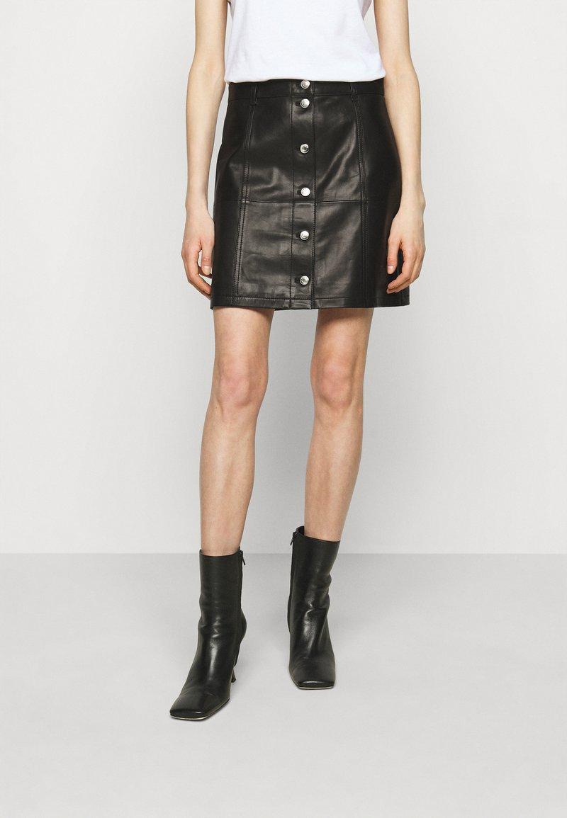 Iro - SKIRT - Kožená sukně - black