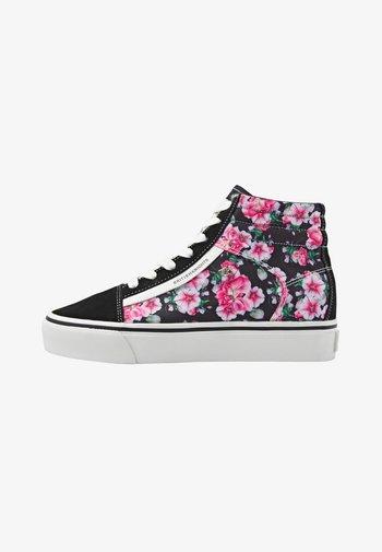 MACK MID - Korkeavartiset tennarit - black/pink flower