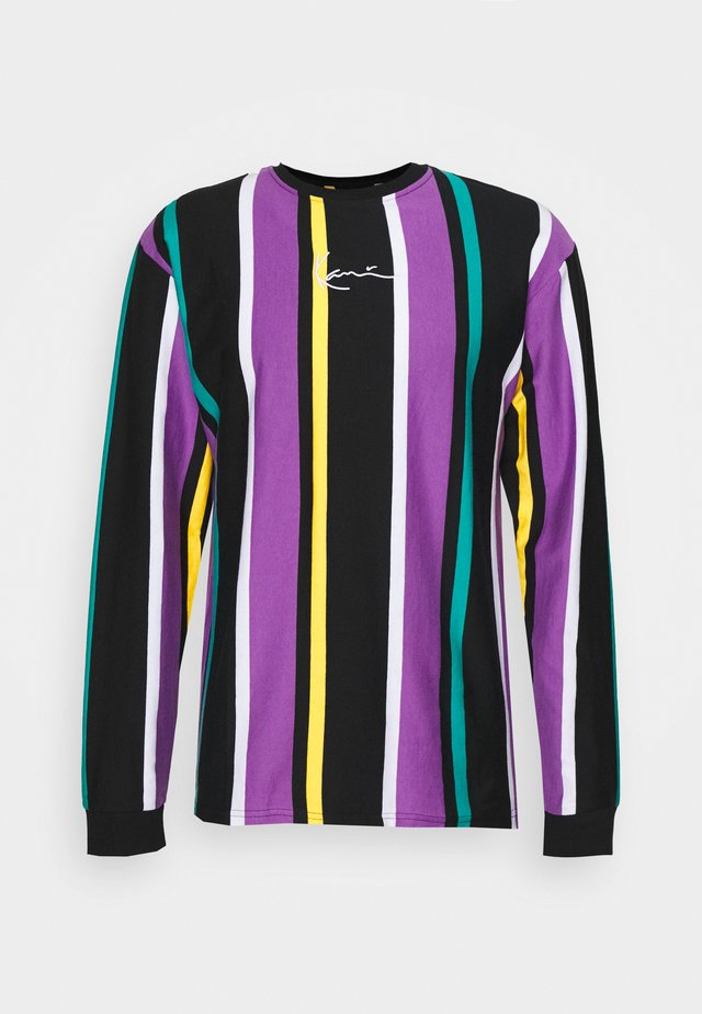 UNISEX SIGNATURE STRIPE LONG SLEEVE - Long sleeved top - black