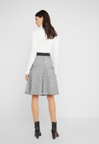 KARL LAGERFELD - BOUCLE  - A-line skirt - white/black
