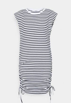 ONLPERNILLE ROUCHING DRESS - Jersey dress - white/night sky