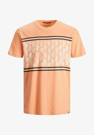 PALMEN-BLOCKPRINT - Print T-shirt - shell coral