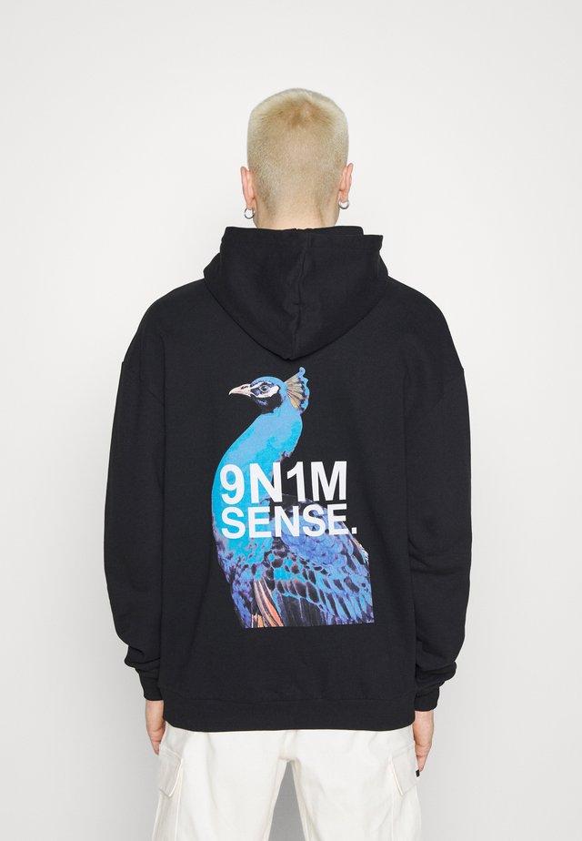 SIDE PEACOCK HOODIE UNISEX - Sweatshirt - black