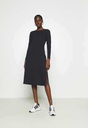 LONG SLEEVE SIDE SPLIT MIDI DRESS - Žerzejové šaty - midnight