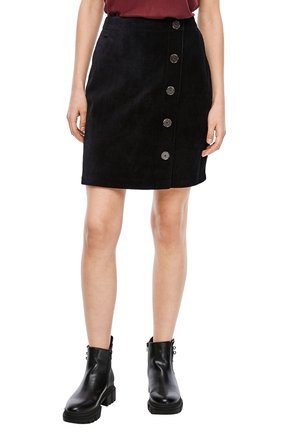MIT ZIERKNOPFLEISTE - Mini skirt - black