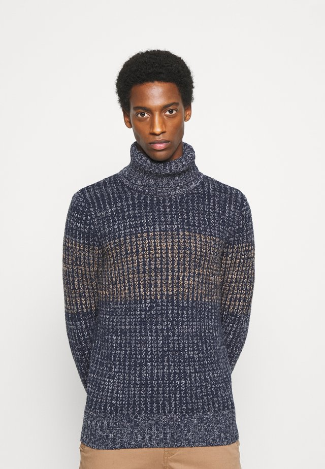 HEAVY TURTLE NECK  - Maglione - navy/sand/grey stripe