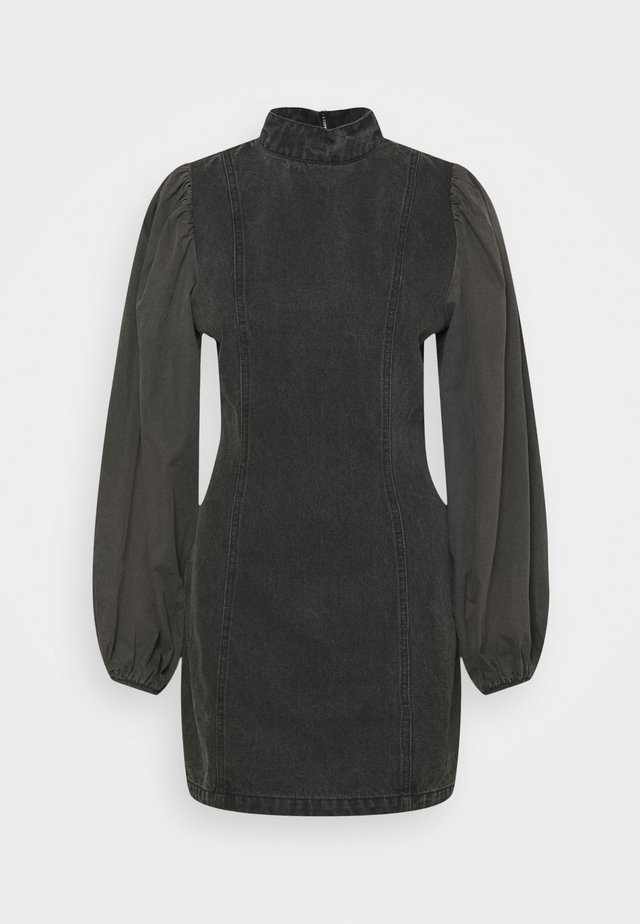 EXTREME VOLUME POPLIN SLEEVE MINI DRESS - Denimové šaty - black