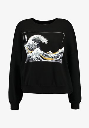 Wave Printed Oversized Sweatshirt - Sweatshirt - black