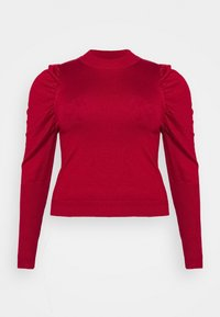 Glamorous Curve - CROPPED JUMPER WITH RIBBED HEMS PUFF LONG SLEEVES - Jumper - scarlet - 0