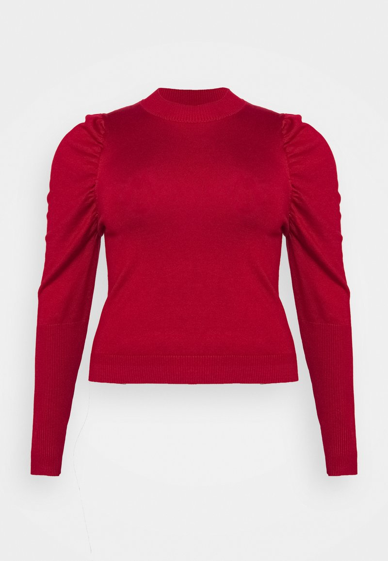 Glamorous Curve - CROPPED JUMPER WITH RIBBED HEMS PUFF LONG SLEEVES - Jumper - scarlet