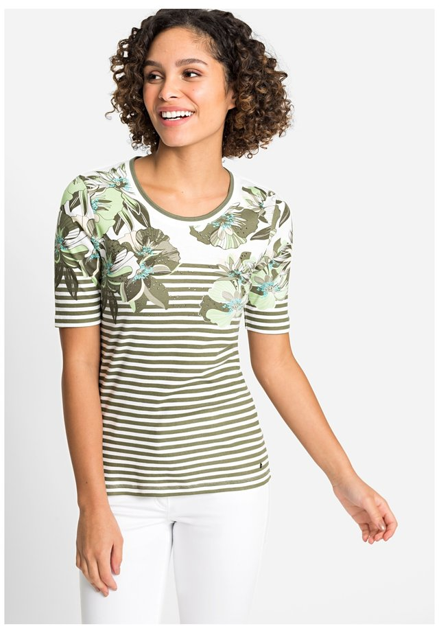 WITH EXOTIC FLOWERS AND STRIPES - Print T-shirt - khaki/white