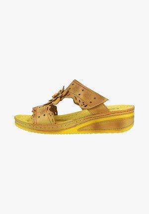 Pantolette flach - gelb