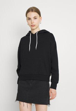 Oversized Hoodie Contrast Cord - Sweatshirt - black