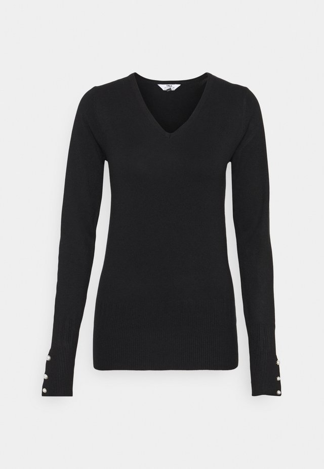 PEARL BUTTON CUFF V NECK JUMPER - Jumper - black