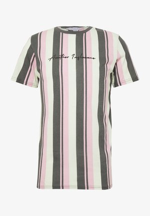 SIGNATURE VERTICAL STRIPE - T-shirt imprimé - grey/mint/pink