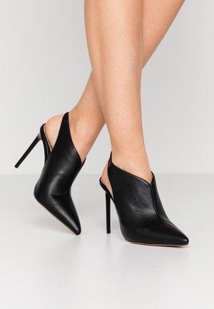 POINTED TOE OPEN BACK  - Kotníková obuv na vysokém podpatku - black
