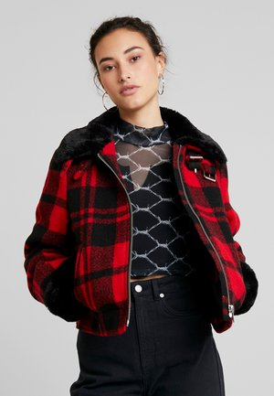 LADIES PLAID JACKET - Light jacket - red/black