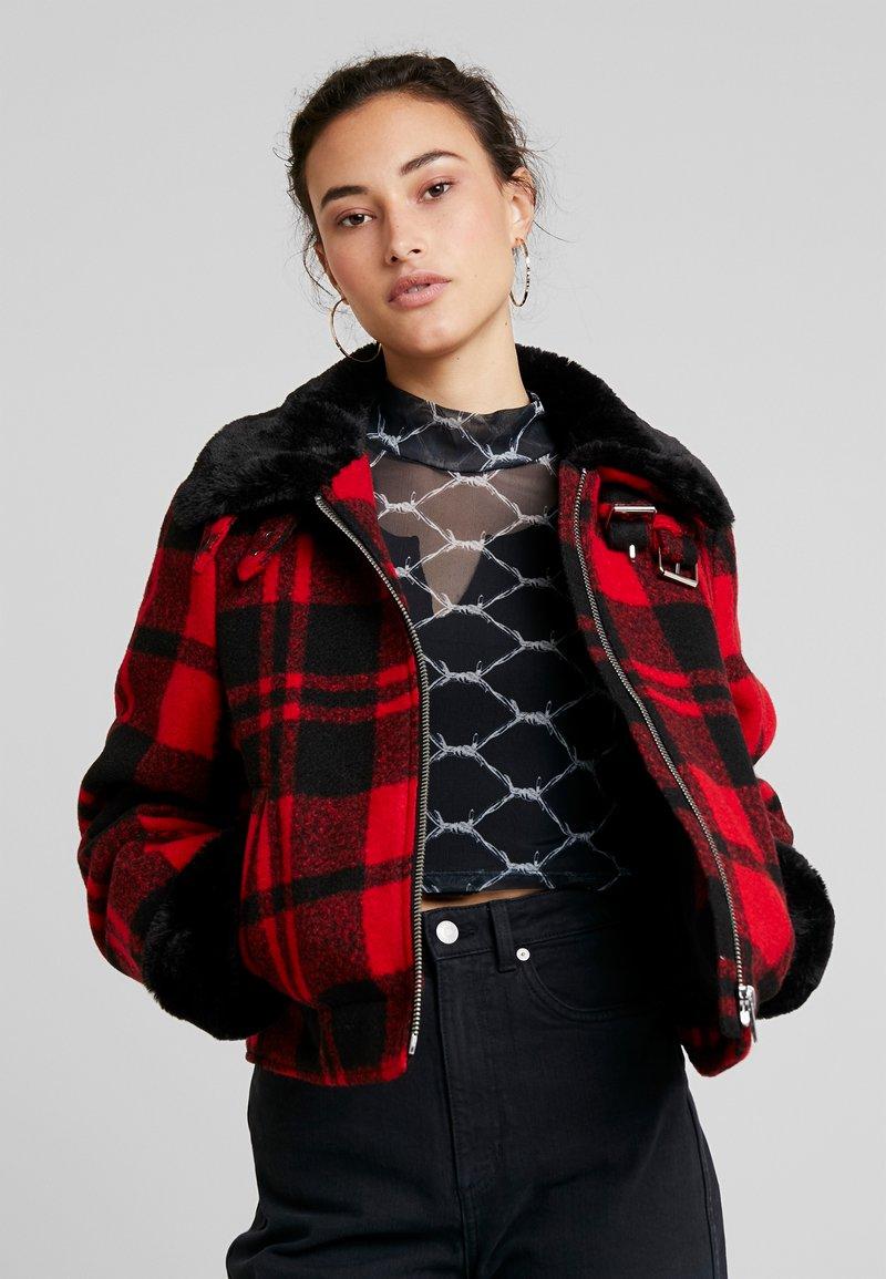 Urban Classics - LADIES PLAID JACKET - Lehká bunda - red/black