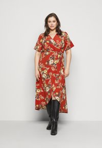 New Look Curves - HI LO FLORAL DRESS - Day dress - red - 0