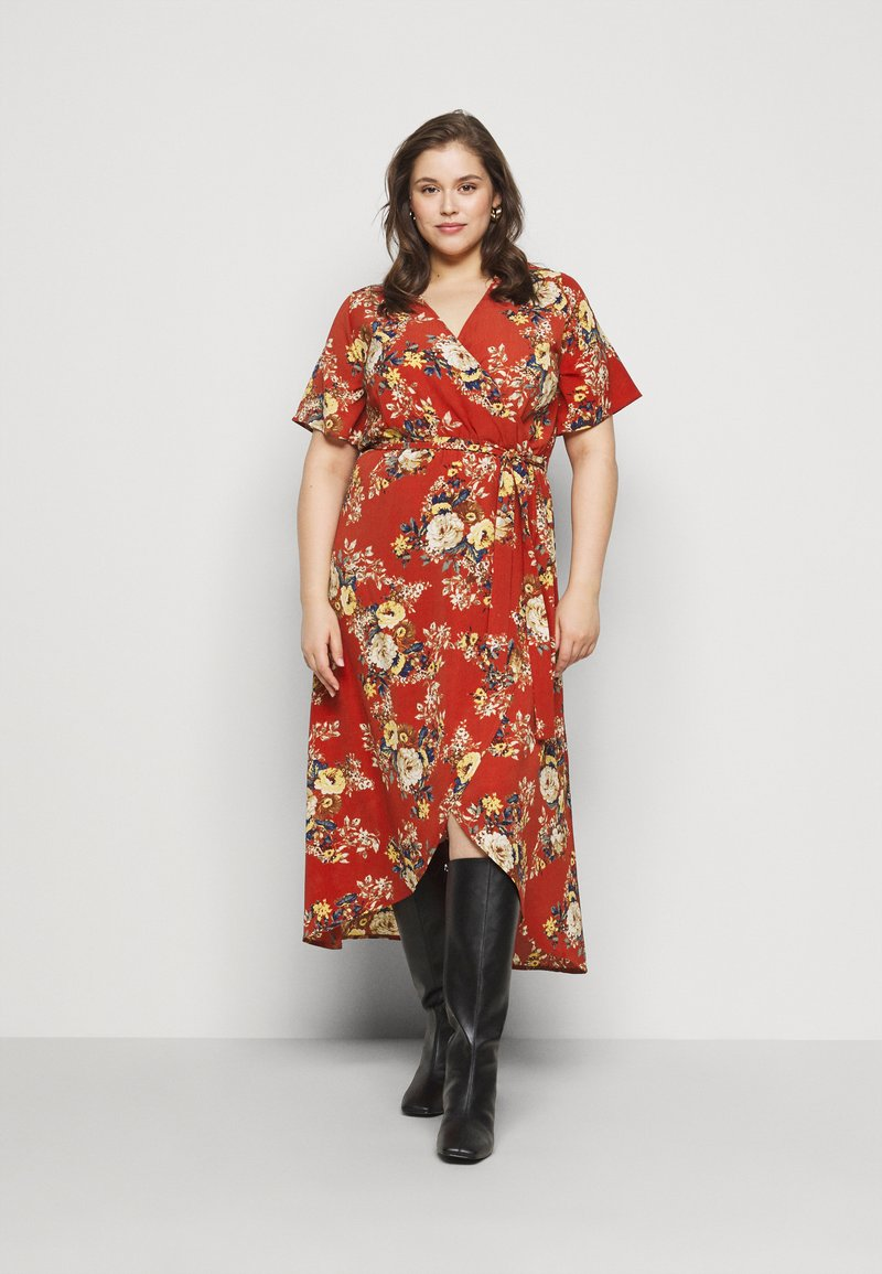 New Look Curves - HI LO FLORAL DRESS - Day dress - red