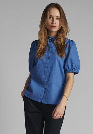 Button-down blouse - medium blue denim