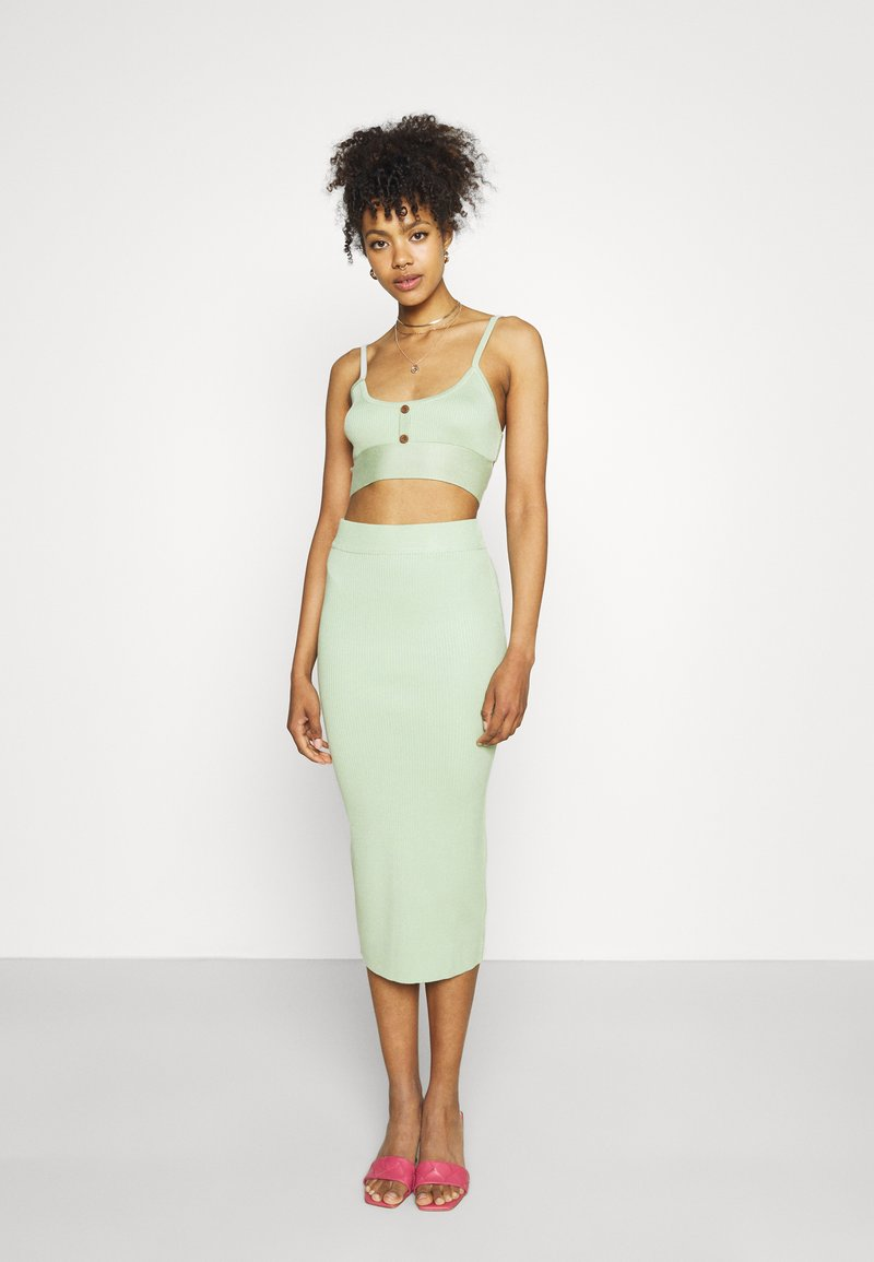 Missguided - BUTTON TIE BACK CAMI SKIRT SET - Top - green
