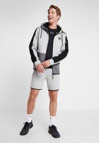 Superdry - GYMTECH COLOURBLOCK ZIPHOOD - Zip-up hoodie - light grey marl/black - 1