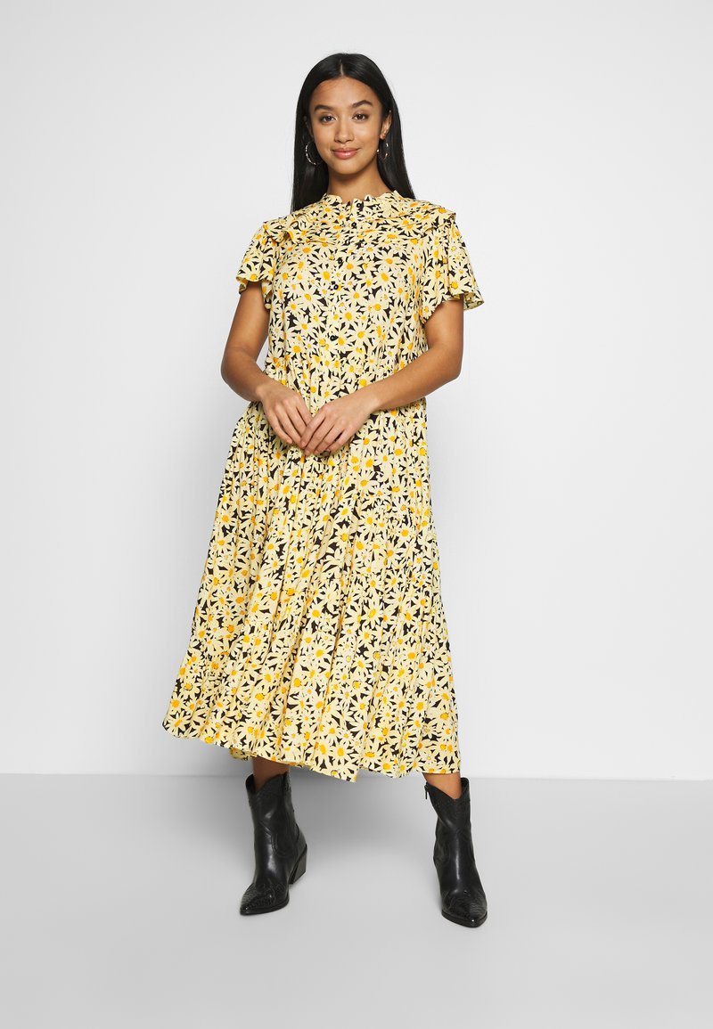 Topshop Petite - DAISY GRANDAD  - Shirt dress - yellow
