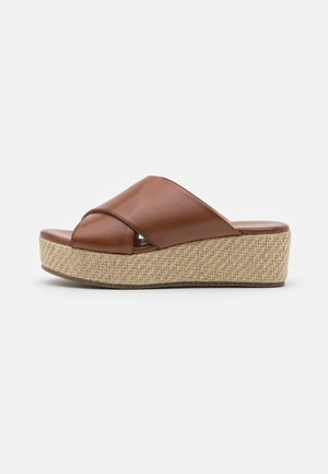 LEATHER - Heeled mules - cognac