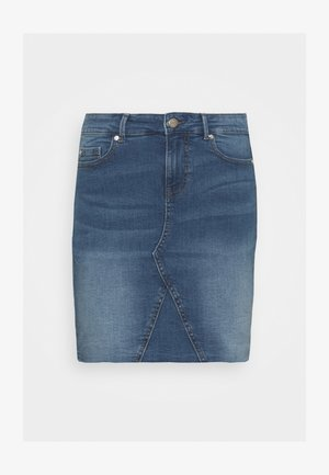ONLFAN SKIRT RAW EDGE - Mini skirt - medium blue denim