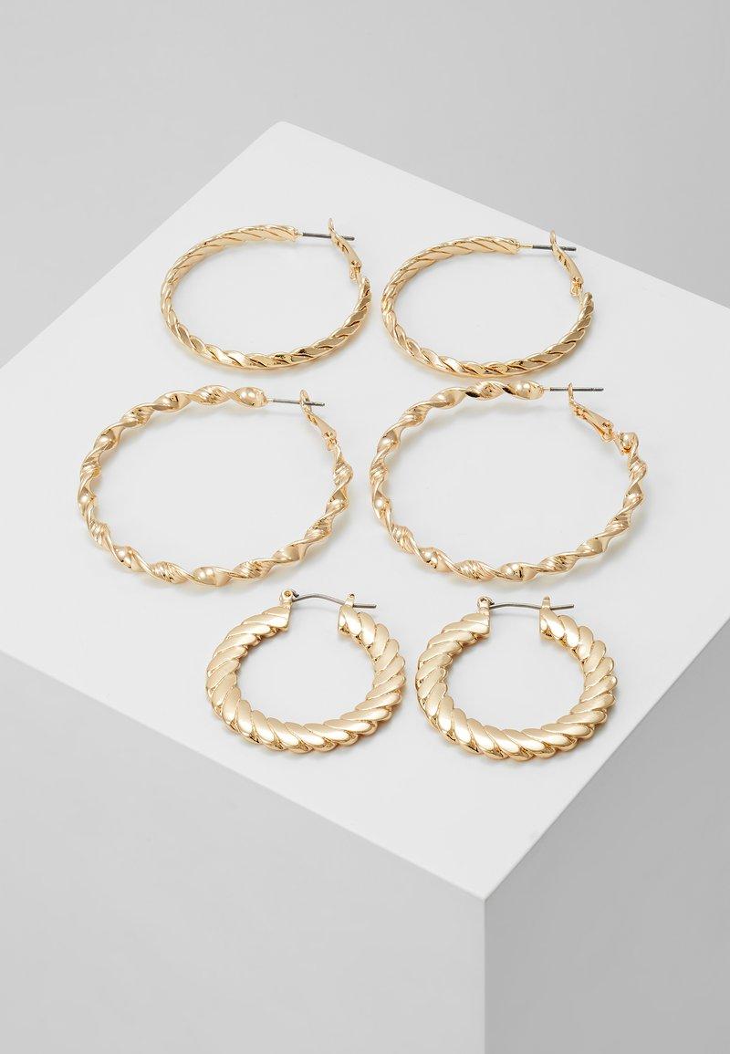 Topshop - TWIST HOOP 3 PACK - Earrings - gold-coloured