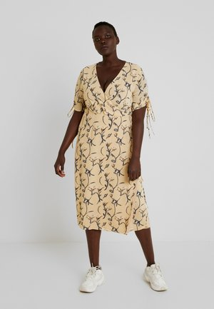 NECK MIDI DRESS - Maxi-jurk - ochre grey floral
