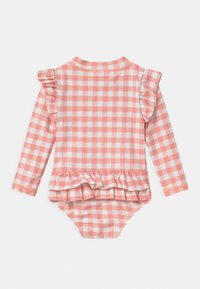 Cotton On - LUCY LONG SLEEVE SWIMSUIT - Swimsuit - smoked salmon/gingham - 1