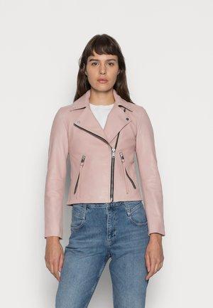 DALBY BIKER - Leren jas - rose water pink