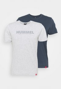 Hummel - LEGACY 2 PACK - Print T-shirt - grey melange/blue nights - 0