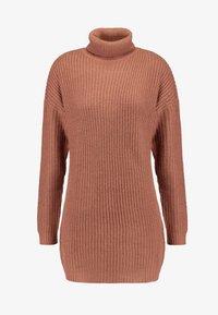 Missguided - ROLL NECK BASIC DRESS - Strikket kjole - mocha - 4