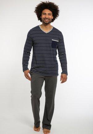 LANG NIGHT & HOME - Pyjama set - blau gestreift / grau