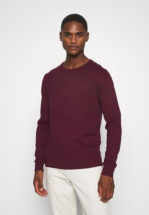 BASIC CREW NECK - Maglione - wine red melange