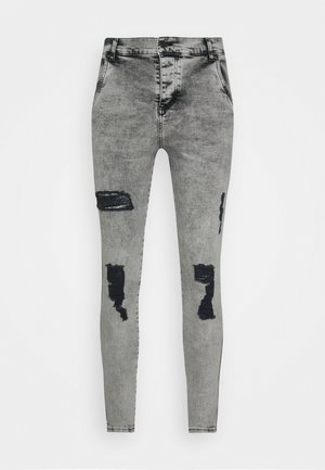 SKINNY FIT ACID WASH WITH DISTRESSING - Vaqueros pitillo - snow wash grey