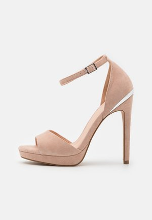 LEATHER - Højhælede sandaletter / Højhælede sandaler - beige