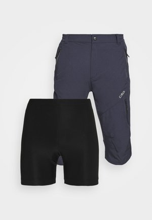 MAN FREE BIKE BERMUDA WITH INNER UNDERWEAR - Short de sport - black/blue