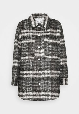 BRUSHED CHECKED SHACKET - Classic coat - brown