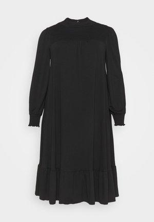 SHIRRED YOKE DRESS - Jersey dress - black