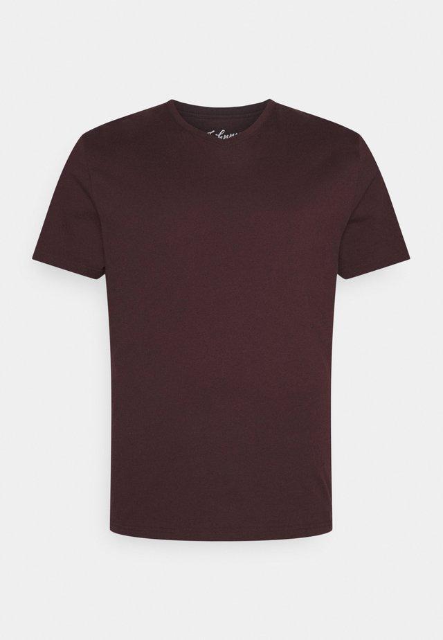 ESSENTIAL V NECK TEE - T-paita - burgundy