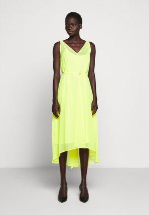 VNECK HI LOW DRESS WAIST SELF BELT - Day dress - neon yellow