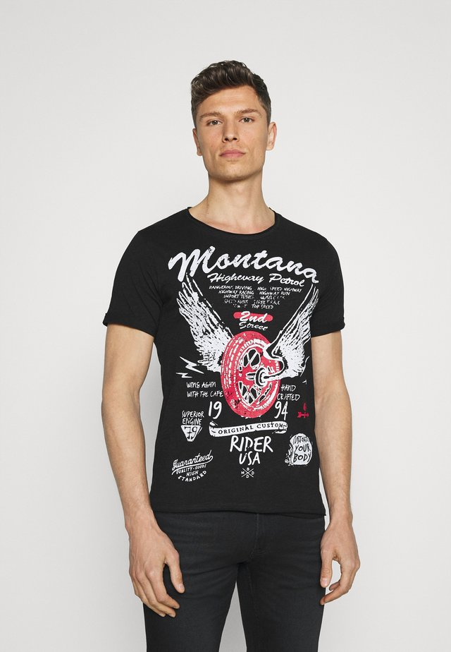TIRES ROUND - T-shirt med print - black