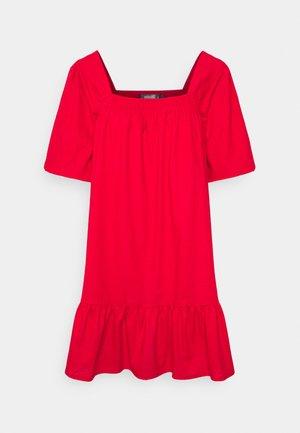 SHIRRED PUFF SLEEVE MINI DRESS - Vardagsklänning - red