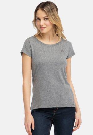 MIT KLEINER STICKEREI - Print T-shirt - grey melange