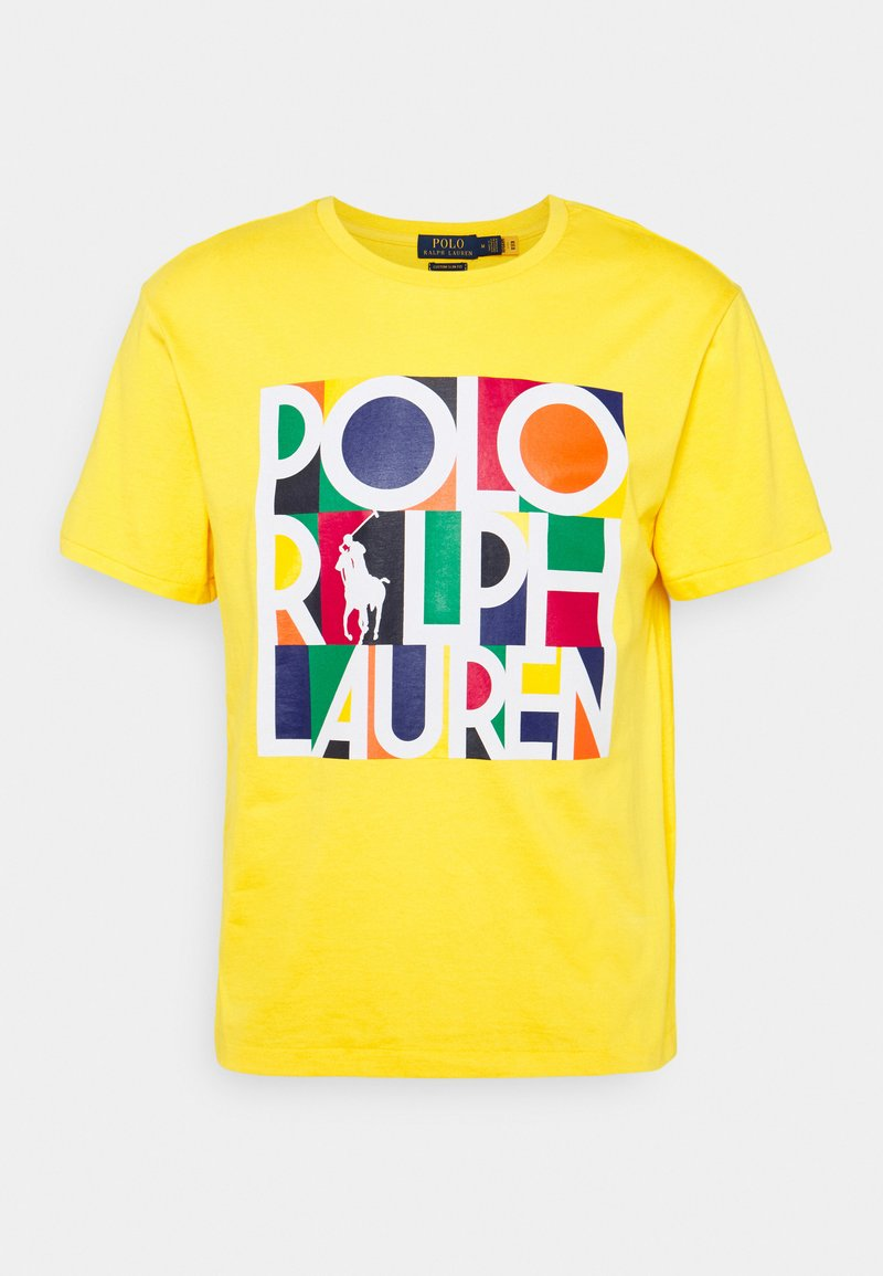Polo Ralph Lauren - CUSTOM SLIM FIT LOGO JERSEY T-SHIRT - T-shirt z nadrukiem - racing yellow