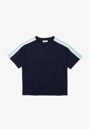 Print T-shirt - bleu marine / turquoise / blanc